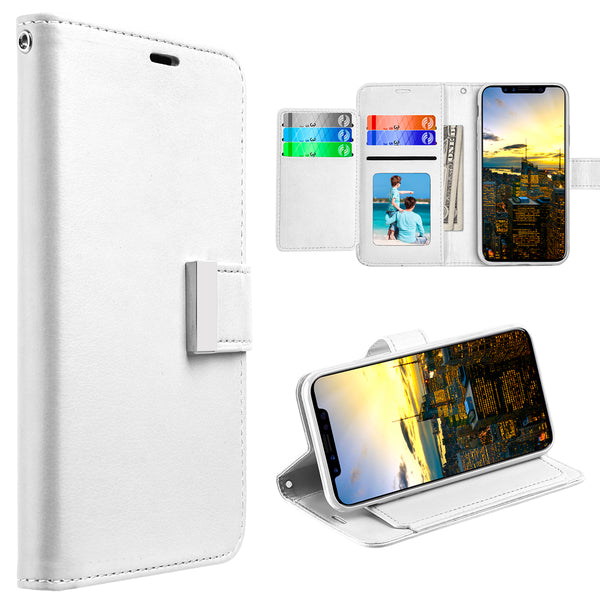 FOR IPHONE XS / X COMPARTMENT CARD SLOTS WALLET POUCH - WHITE