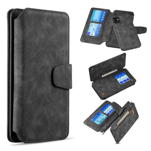 LUXURY COACH 2 SERIES FLIP WALLET WITH DETACHABLE CASE FOR IPHONE 11 - BLACK