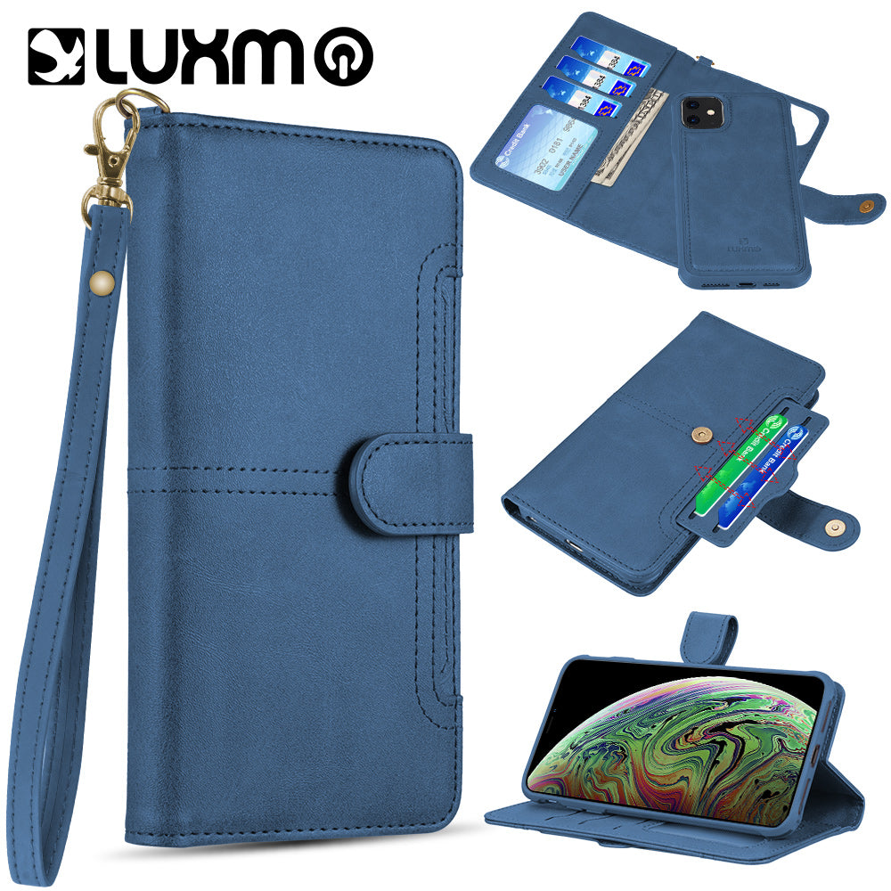 APPLE IPHONE 11 - LUXMO NAPA COLLECTION LEATHER DETACHABLE WALLET CASE NAVY BLUE