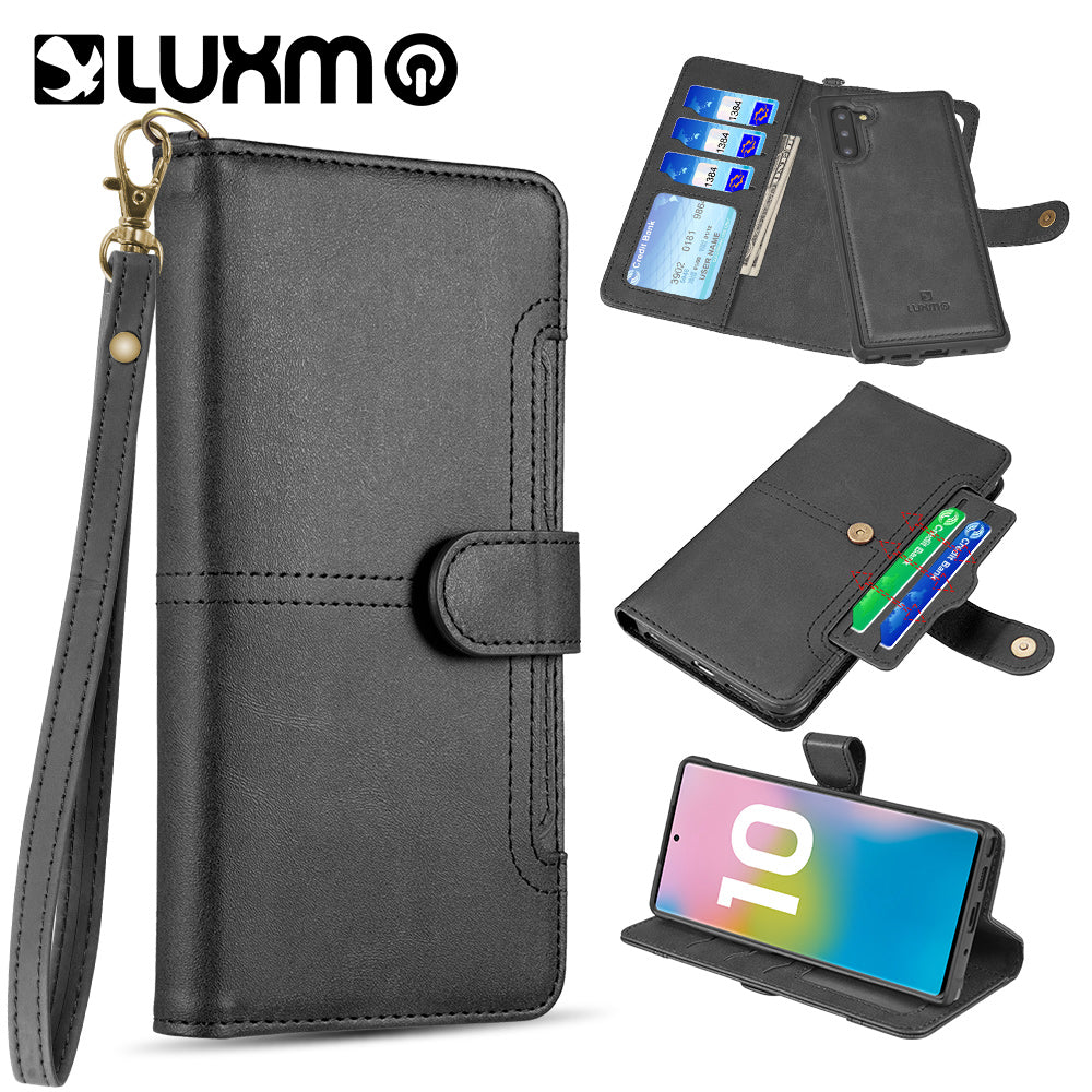 SAMSUNG GALAXY NOTE 10 LUXMO THE NAPA COLLECTION LEATHER DETACHABLE WALLET CASE WITH ID WINDOWS AND EXTRA CARD SLOTS - BLACK