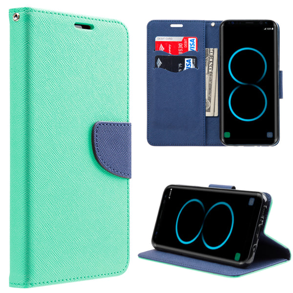 SAMSUNG GALAXY S8 PLUS DIARY WALLET TEAL + NAVY BLUE