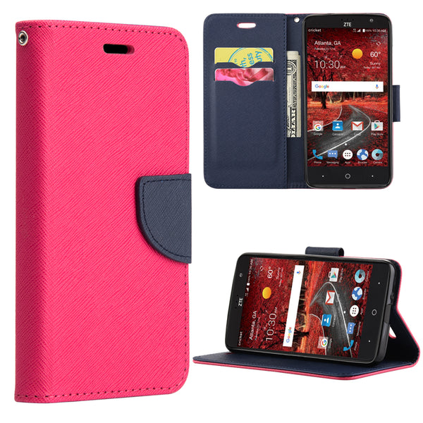 ZTE GRAND X4 DIARY LEATHER WALLET CASE HOT PINK + NAVY BLUE