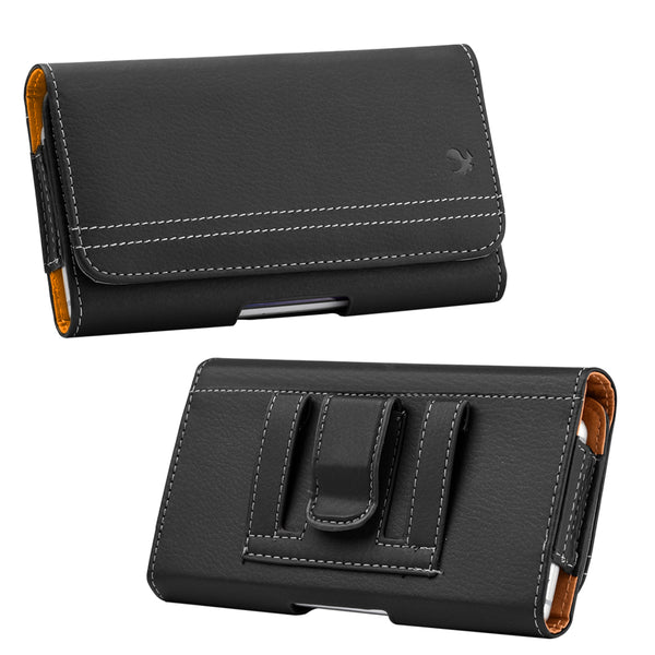 LUXMO #20 HTC ONE M7/SAM S6/SAM S7 HORIZONTAL UNIVERSAL LEATHER POUCH - BLACK