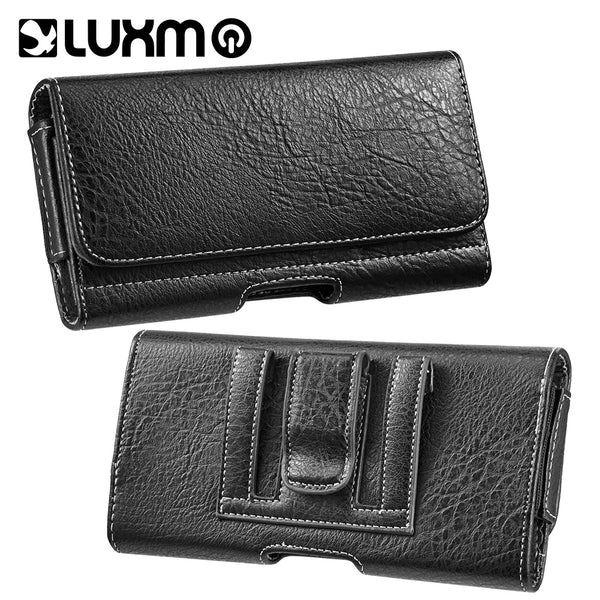 LUXMO #23 HTC ONE M7/SAM S6/SAM S7 HORIZONTAL UNIVERSAL LEATHER POUCH - BLACK