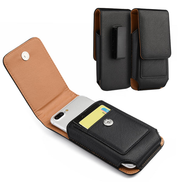 SAMSUNG GALAXY NOTE / I717 VERTICAL UNIVERSAL LEATHER POUCH - BLACK