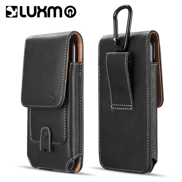 LUXMO #27 FOR IPHONE 5.5 / SAMSUNG I717 VERTICAL UNIVERSAL LEATHER POUCH - BLACK