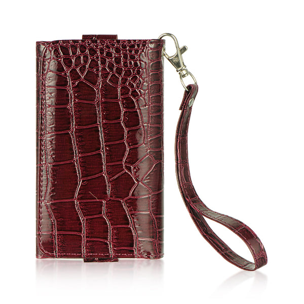 UNIVERSAL 4 TO 5 INCHES WALLET POUCH BURGUNDY CROCO