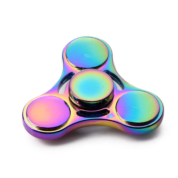 RAINBOW METAL ROUND TRI-SPINNER HIGH SPEED FINGER SPINNER STRESS REDUCER ADHD FOCUS ANXIETY RELIEF TOYS