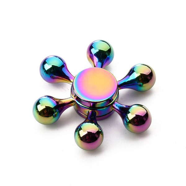 RAINBOW METAL SIX WINGS HIGH SPEED FINGER SPINNER STRESS REDUCER ADHD FOCUS ANXIETY RELIEF TOYS