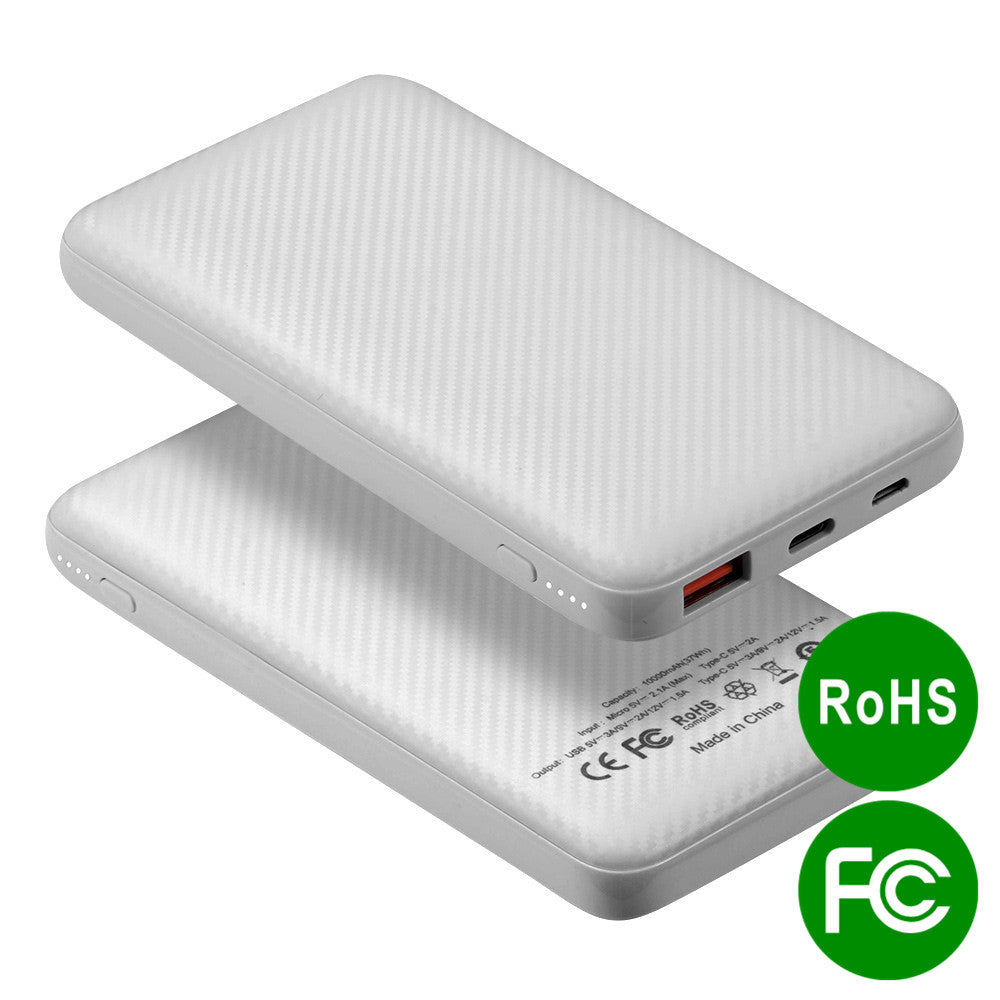 UNIVERSAL 10000MAH POWER BANK 18W PD POWER DELIVERY TYPE-C QUICK CHARGE 3.0 FCC ROHS CERTIFIED - WHITE