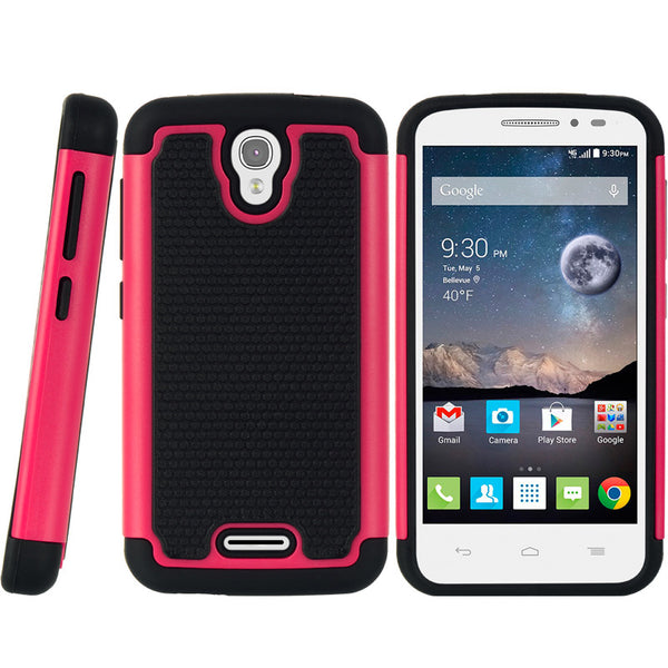 ALCATEL ONE TOUCH POP ASTRO GRIPPY HYBRID CASE BLACK TPU + H