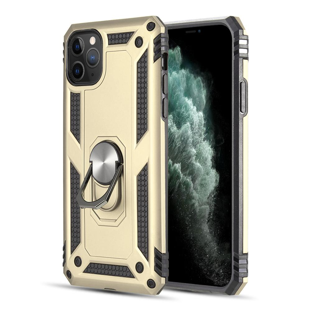 RUBBERIZED HYBRID PROTECTIVE CASE W/ SHOCK ABSORPTION & BUILT-IN ROTATABLE RING STAND FOR IPHONE 11 PRO MAX - GOLD