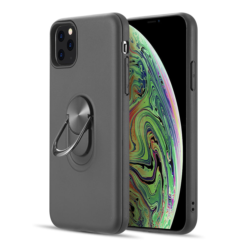 RUBBERIZED ANTI-SLIPPERY HYBRID PROTECTIVE CASE WITH BUILT-IN METAL ROTATABLE RING STAND FOR IPHONE 11 PRO MAX - BLACK
