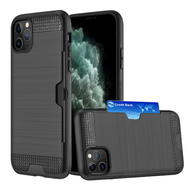 HYBRID CARD TO GO CASE BLACK TPU W/ SILK BACK PLATE FOR IPHONE 11 PRO MAX - BLACK