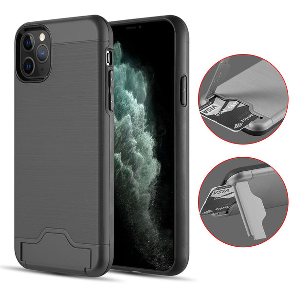 KARDCASE PROTECTIVE HYBRID 2-IN-1 CARD TO GO 2ND GENERATION CREDIT CARD CASE WITH SILK BACK PLATE FOR IPHONE 11 PRO MAX - BLACK