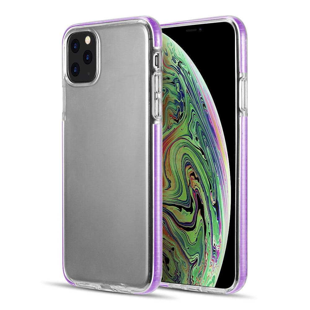 THE INVISIBLE BUMPER ULTRA THIN HYBRID CASE WITH WHITE INNER FLEX PROTECTIVE FRAME FOR IPHONE 11 PRO MAX - PURPLE