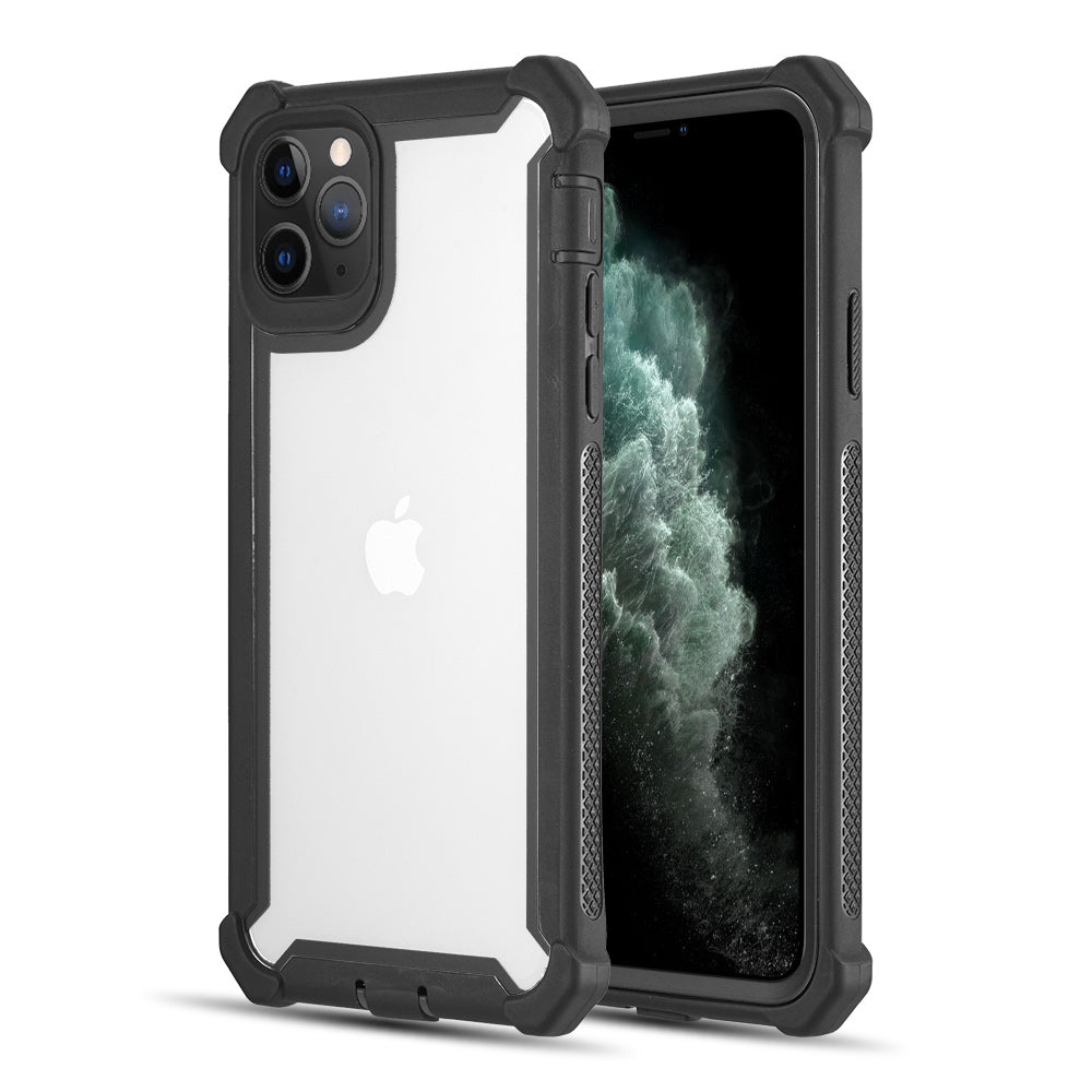 THE VISPRO SERIES DUAL TONE TOUGH HYBRID PROTECTION CASE FOR IPHONE 11 PRO MAX - BLACK + BLACK