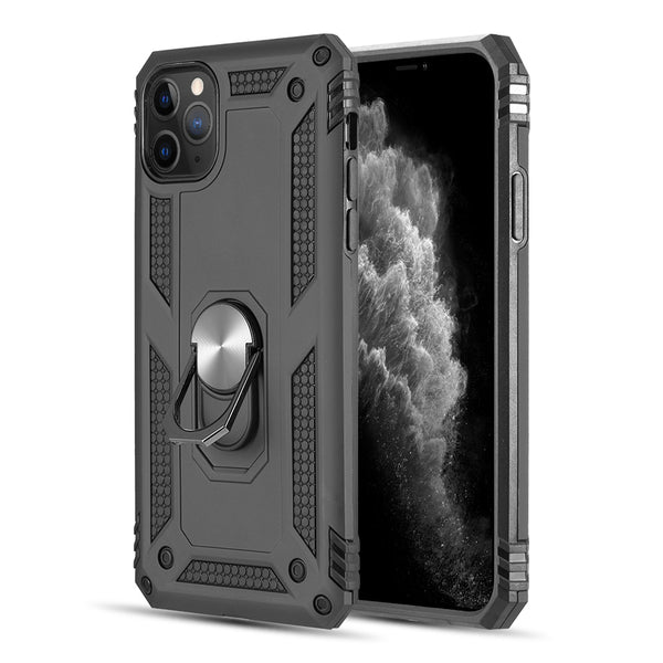 RUBBERIZED HYBRID PROTECTIVE CASE W/ SHOCK ABSORPTION & BUILT-IN ROTATABLE RING STAND FOR IIPHONE 11 PRO - BLACK