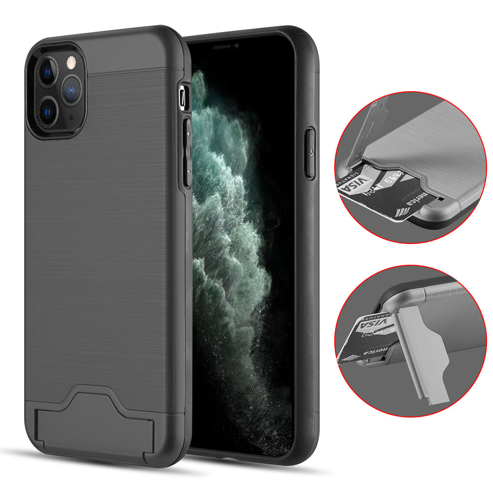 KARDCASE PROTECTIVE HYBRID 2-IN-1 CARD TO GO 2ND GENERATION CREDIT CARD CASE WITH SILK BACK PLATE FOR IPHONE 11 PRO - BLACK