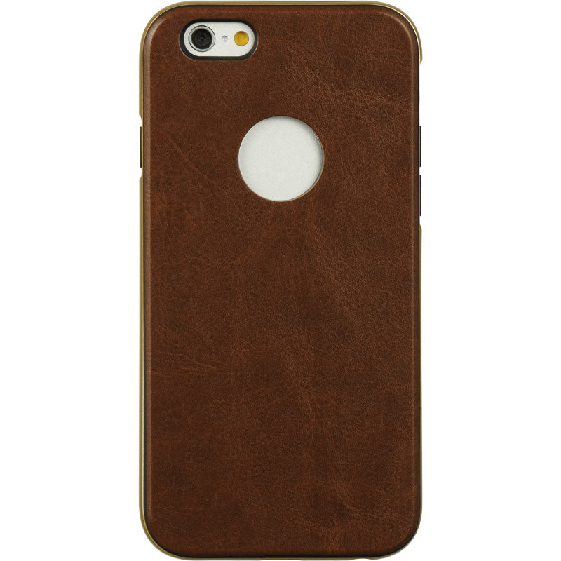 FOR IPHONE 6/6S HYBRID PIRATE LEATHER CASE + GOLD FRAME - BROWN