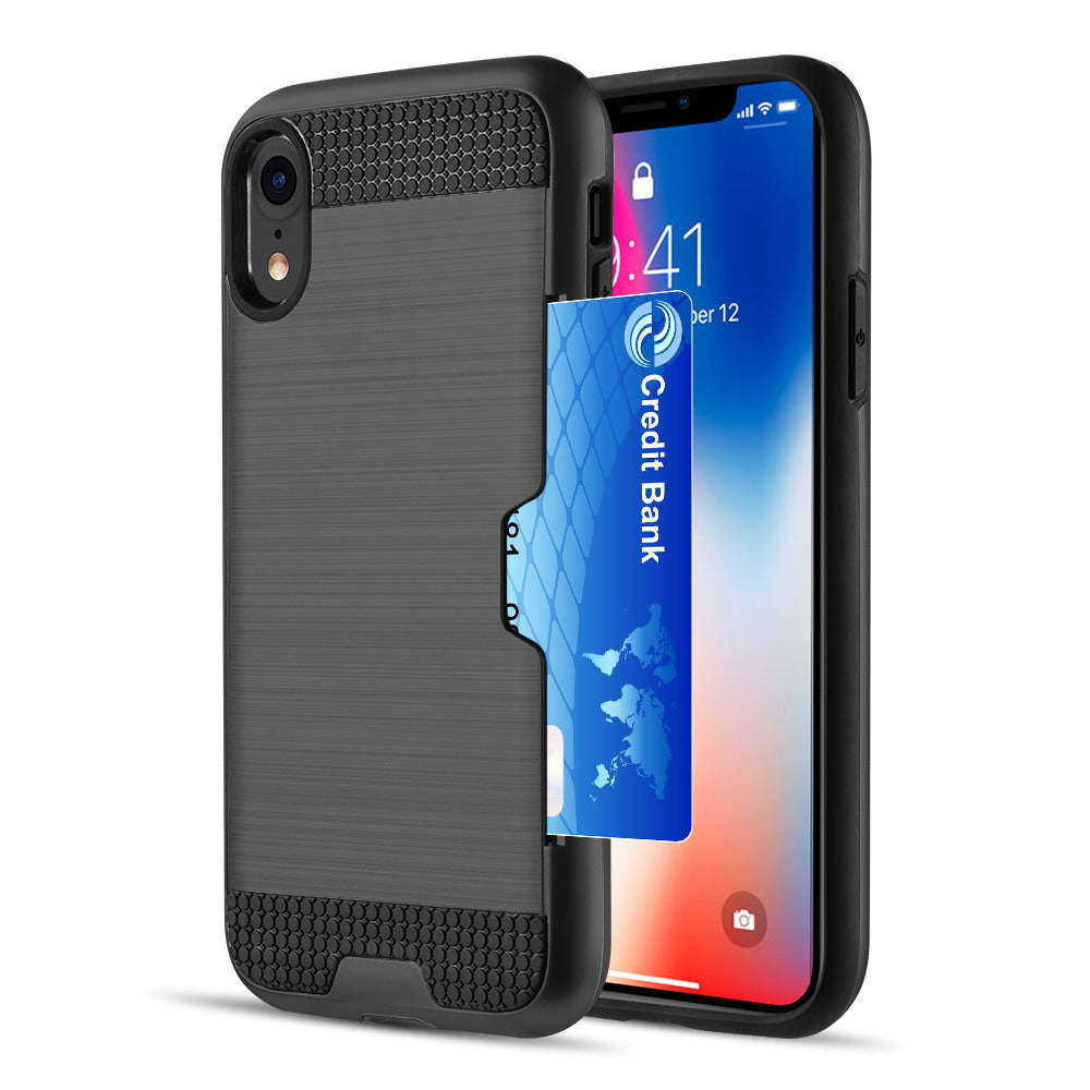 iphone TCAIP Hybrid Card To Go Black TPU Case with Silk Back Plate for iphone 11