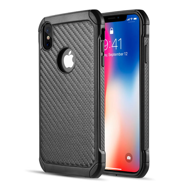 THE TOUGH HYBRID CASE BLACK TPU + BLACK PC WITH CARBON FIBER FINISH FOR IPHONE XS MAX