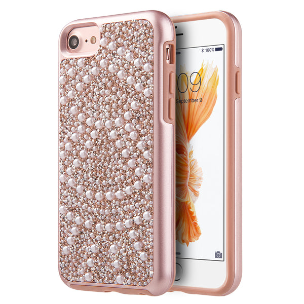 LUXMO FOR IPHONE 8/ FOR IPHONE 7 DIAMOND PEARL PLATINUM COLLECTION HYBRID BUMPER CASE - PINK