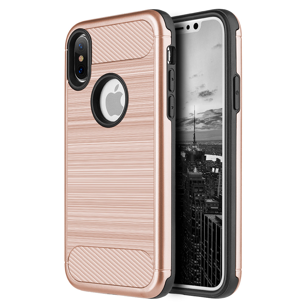 FOR IPHONE XS / X CARBON TECH SILK HYBRID PC + TPU COVER CASE - ROSE GOLD