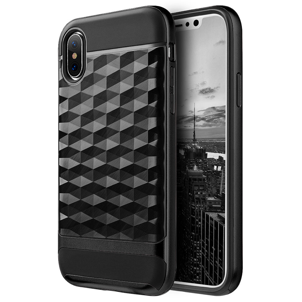 FOR IPHONE XS / X DIAMOND WAVE TPU WITH COLOR PC FRAME HYBRID PROTECTION CASE - BLACK