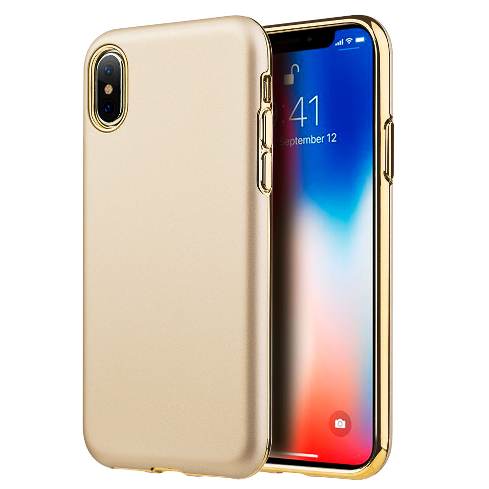 FOR IPHONE XS / X SUBLIME DUAL HYBRID CASE W/ GOLD RUBBERIZED PC BACK PLATE + GOLD ELECTROPLATED TPU