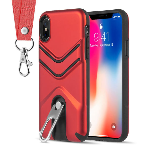 THE VICTORY HYBRID CASE WITH METAL CAP STAND AND LANYARD FOR IPHONE XS / X - RED