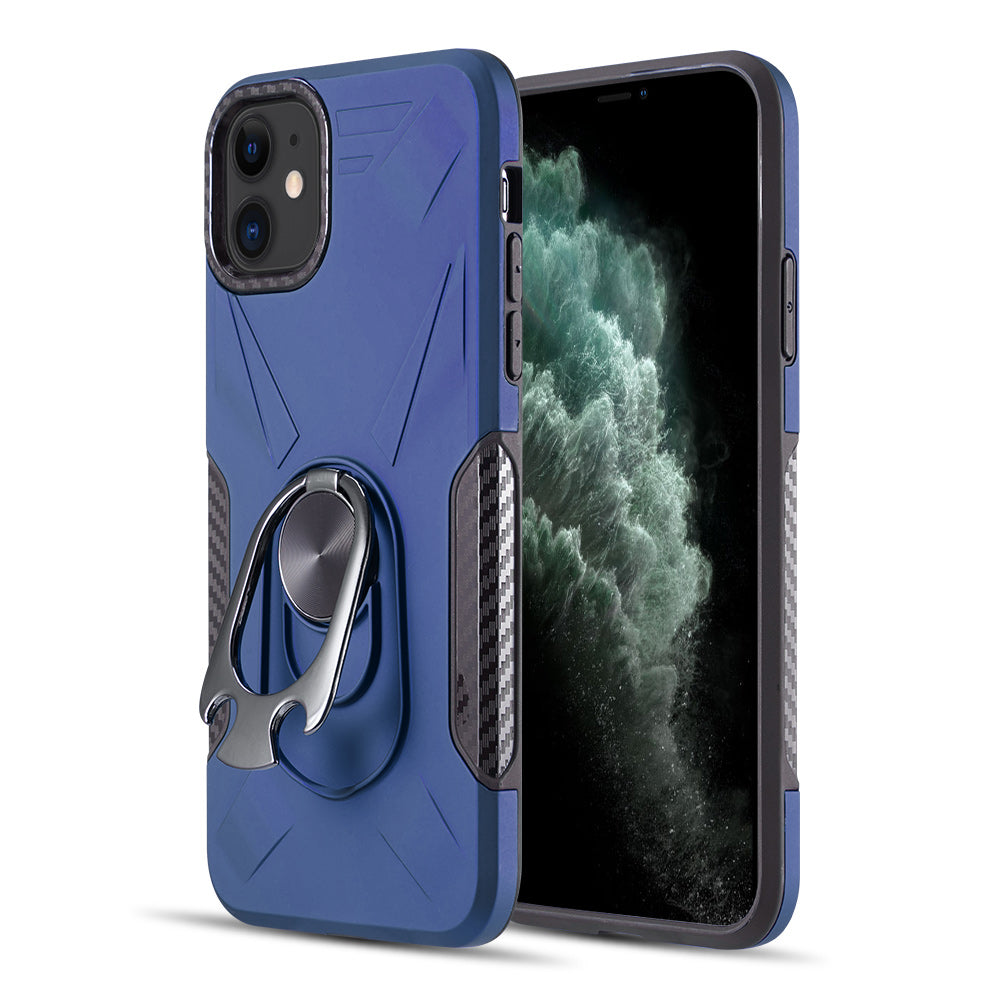 THE ULTIMATE BOTTLE OPENER HYBRID CASE WITH CARBON FIBER DETAILS AND MAGNETIC RING STAND FOR IPHONE 11 - NAVY