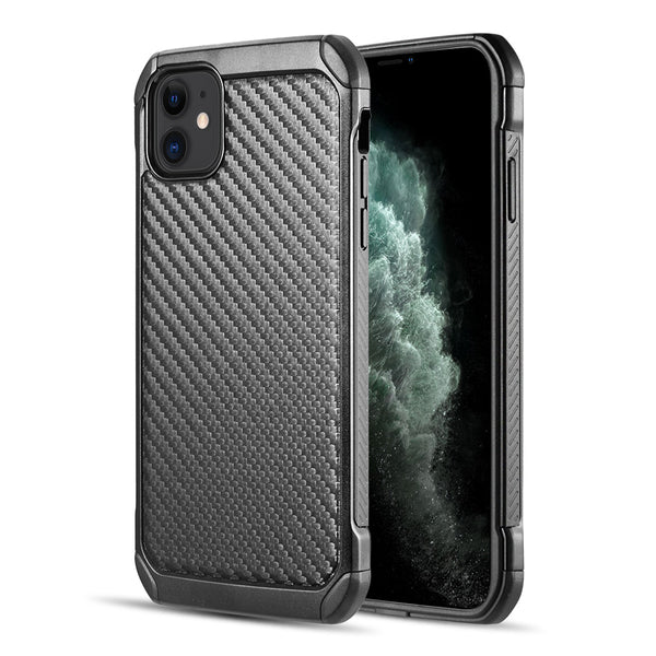 TOUGH HYBRID CASE BLACK TPU+BLACK PC WITH CARBON FIBER FINISH FOR IPHONE 11