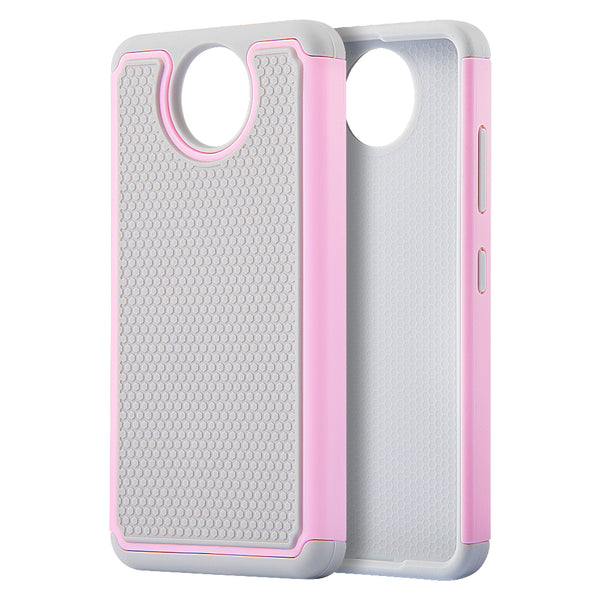 NOKIA LUMIA 650 GRIPPY HYBRID CASE GREY TPU + PINK PC