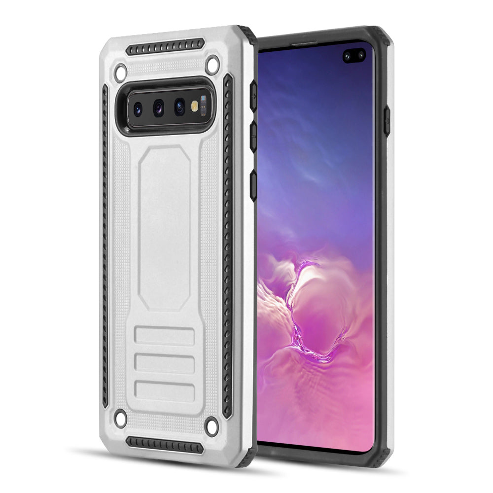 RUBBERIZED HYBRID PROTECTIVE CASE WITH SHOCK ABSORPTION FOR SAMSUNG GALAXY S10 PLUS - SILVER