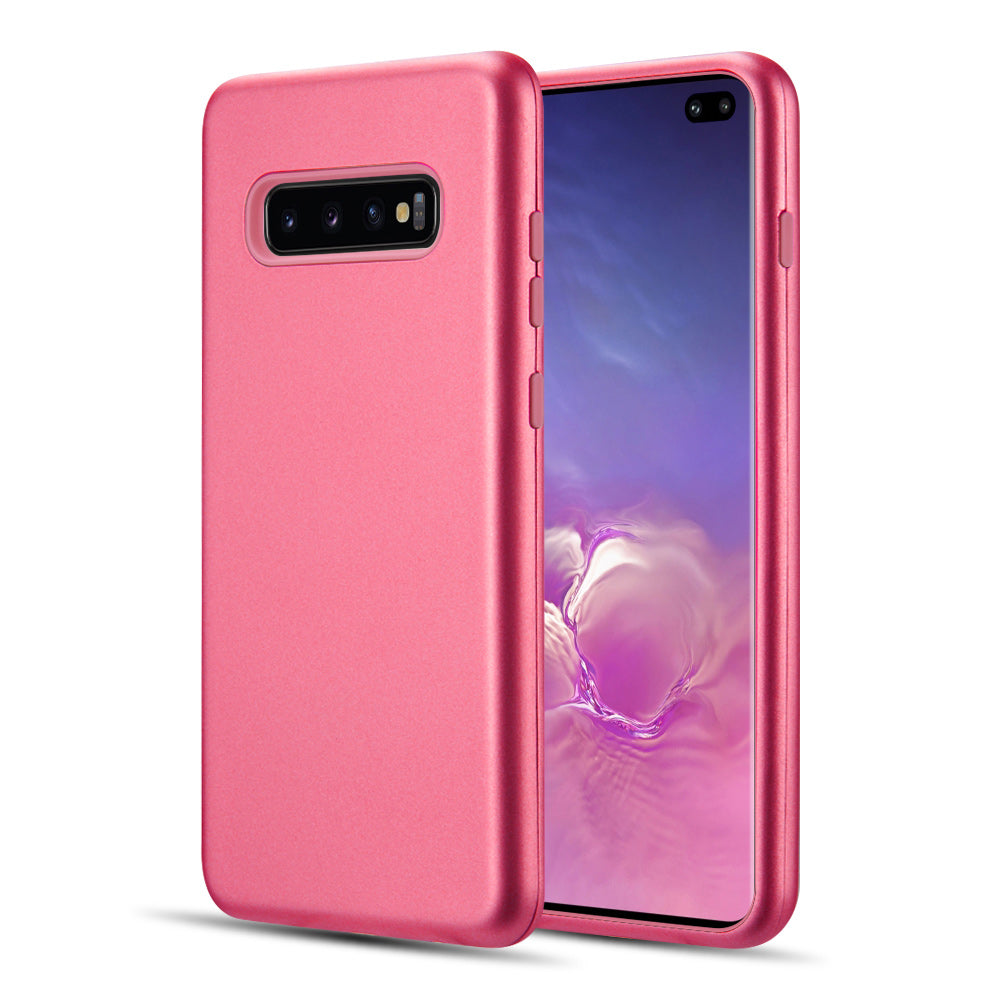 THE DUAL MAX SERIES 2 TONE TPU PC COVER HYBRID PROTECTION CASE FOR SAMSUNG GALAXY S10 PLUS - HOT PINK / PINK