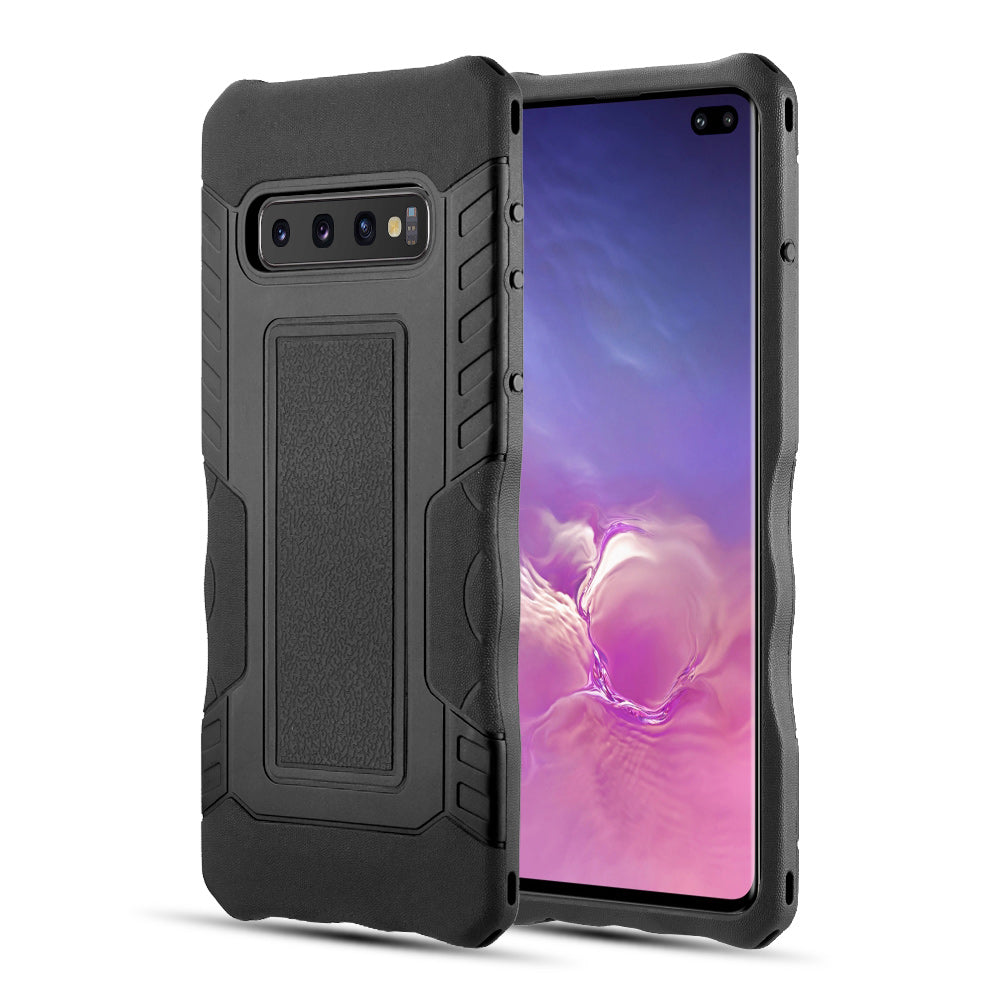 KNIGHT ARMOR RUBBERIZED PROTECTIVE HYBRID CASE WITH SHOCK ABSORPTION AND ANTI-SLIPPERY GRIP FOR GALAXY S10 PLUS - BLACK / BLACK
