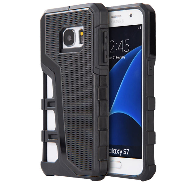 SAMSUNG GALAXY S7 HYPER SPORT DUAL HYBRID CASE WITH BLACK TPU+ BLACK PC BACK PLATE