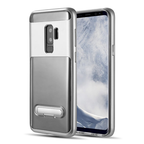 SAMSUNG GALAXY S9 PLUS SHOCK PROOF HYBRID TRANSPARANT TPU + PC FRAME WITH KICK STAND - SILVER