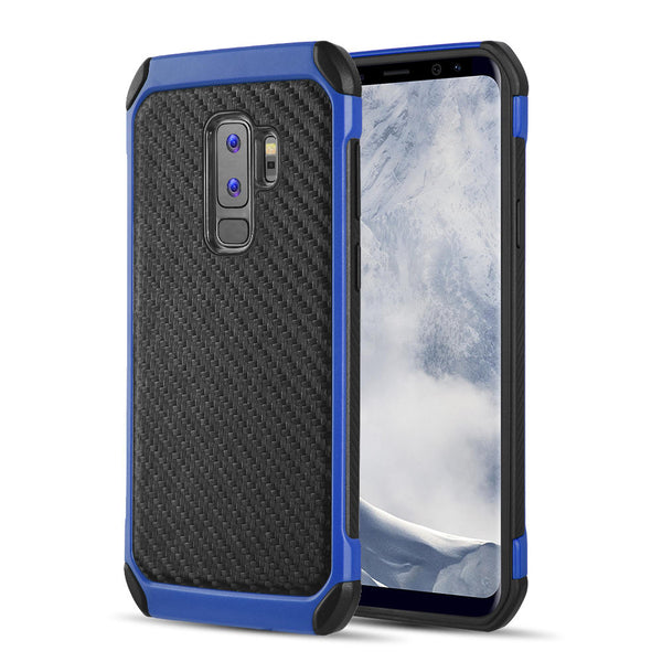 SAMSUNG GALAXY S9 PLUS TOUGH HYBRID CASE BLACK TPU + BLUE PC WITH CARBON FIBER FINISH
