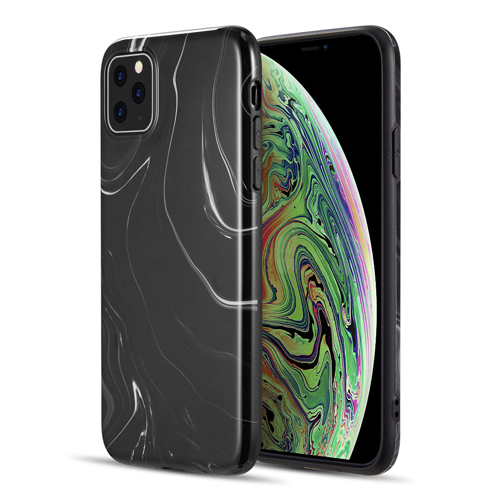 MILKY MARBLE COLLECTION FULL COVERAGE IMD SMOOTH MARBLE TPU CASE FOR IPHONE 11 PRO MAX - BLACK SWIRL