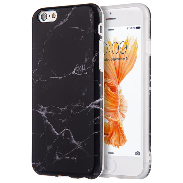 FOR IPHONE 6 / 6S MARBLE IMD SOFT TPU CASE - BLACK