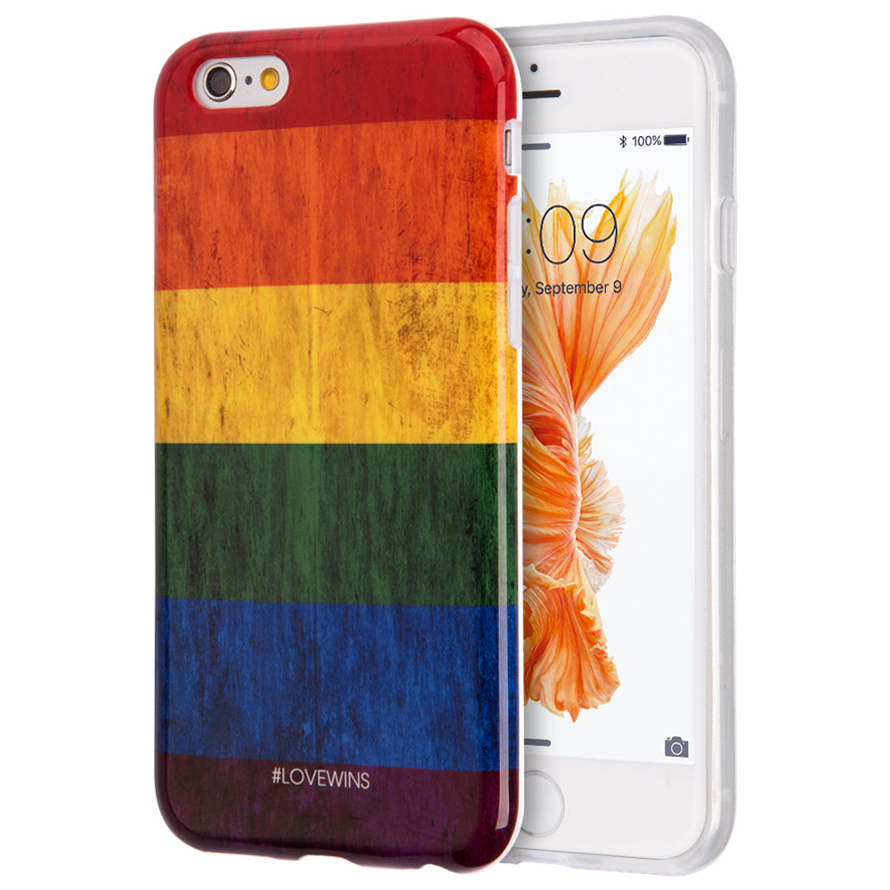 FOR IPHONE 6 / 6S LOVE WINS VINTAGE FLAG SERIES IMD TPU CASE - RAINBOW