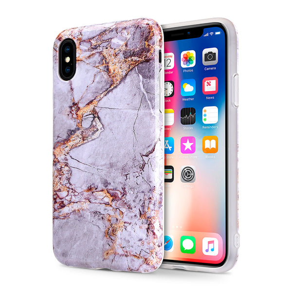 FOR IPHONE XS / X MARBLE IMD SOFT TPU CASE - GREY / GOLD