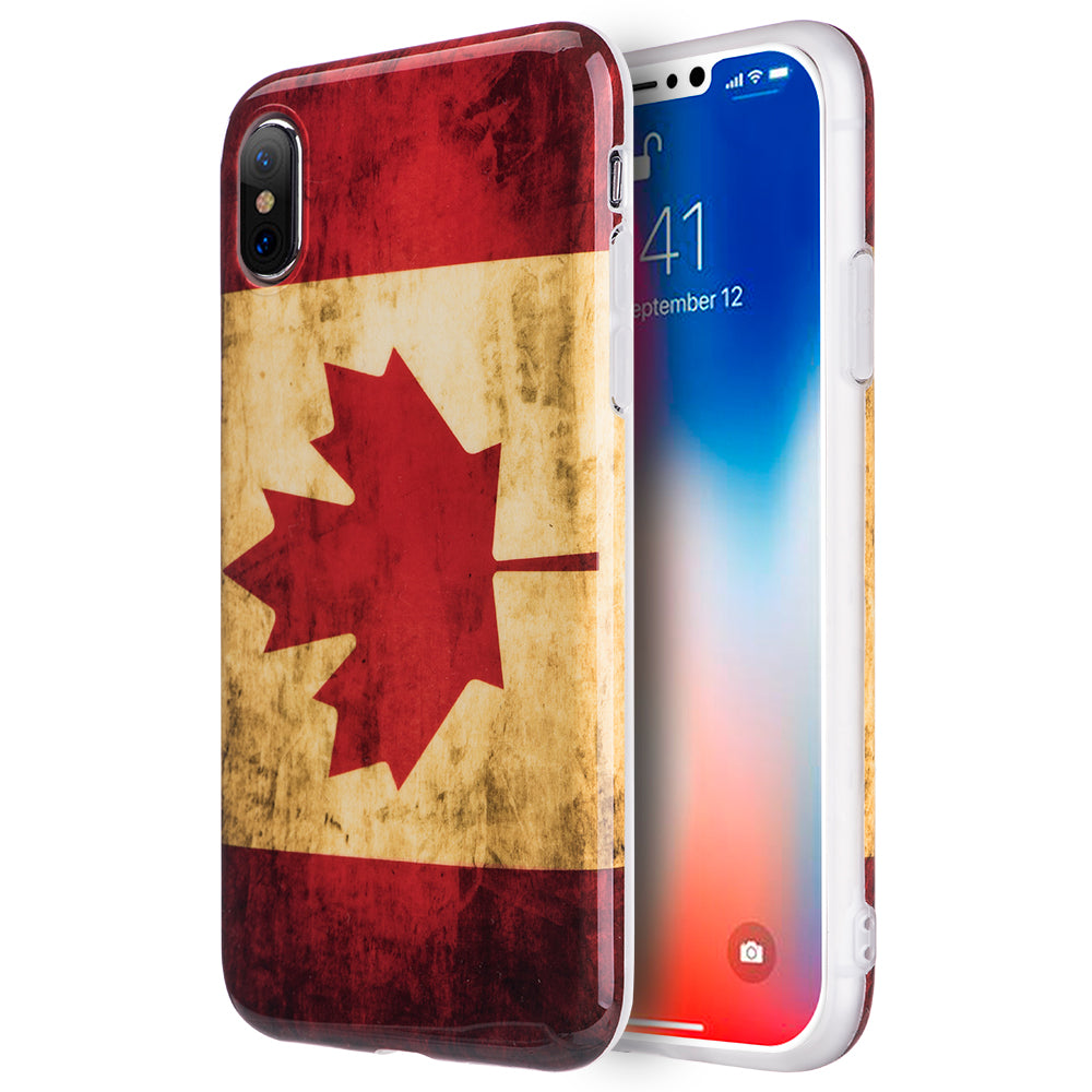 FOR IPHONE XS / X PATRIOTIC FLAG SERIES IMD TPU CASE - CANADA