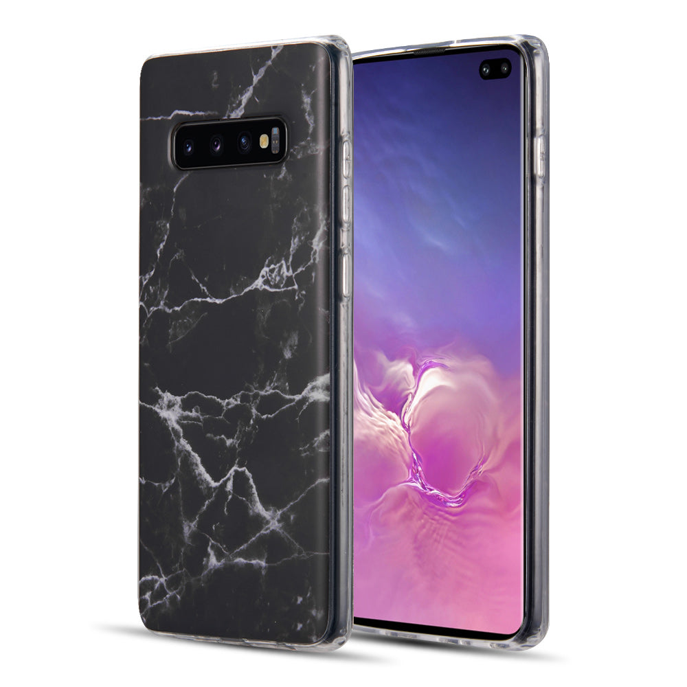 SAMSUNG GALAXY S10 PLUS MARBLE IMD SOFT TPU CASE - BLACK