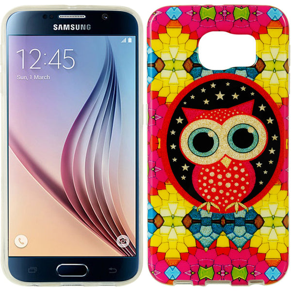 SAMSUNG GALAXY S6 TPU IMD CASE WITH GLITTER COLORFUL OWL