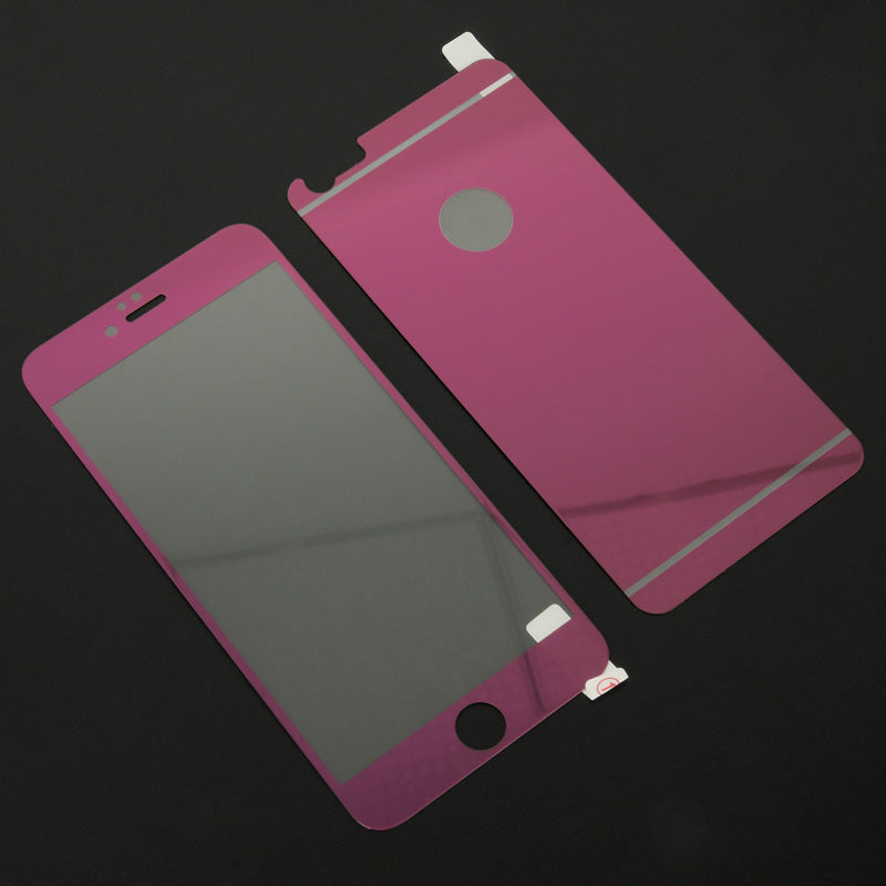 FOR IPHONE 6 / 6S PLUS TEMPERED GLASS SCREEN PROTECTOR FRONT AND BACK - HOT PINK