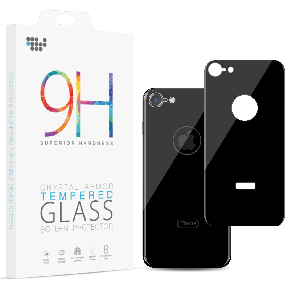 FOR IPHONE 8 BACK COVER TEMPERED GLASS RARE PLATE PROTECTOR – BLACK