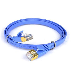 3' Category 7 (Cat7) Ethernet Patch Flat Cable (Blue) - SimplyASP Tech